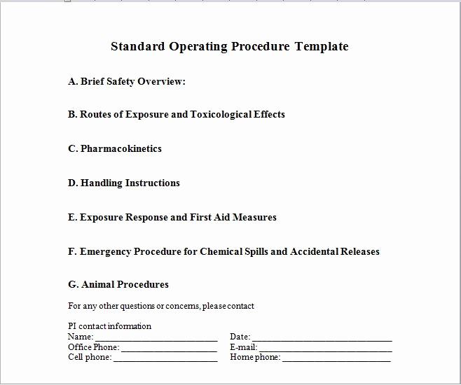 Standard Operation Procedure format New 37 Best Standard Operating Procedure sop Templates