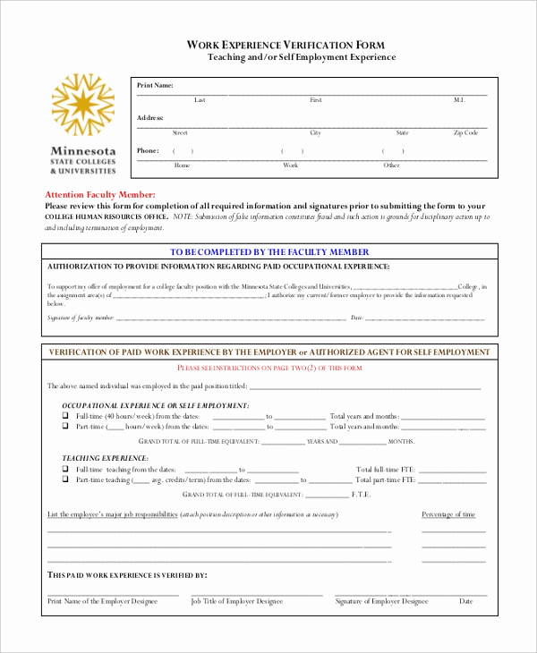 Standard Verification Of Employment form Awesome Sample Work Verification form 7 Free Document In Pdf