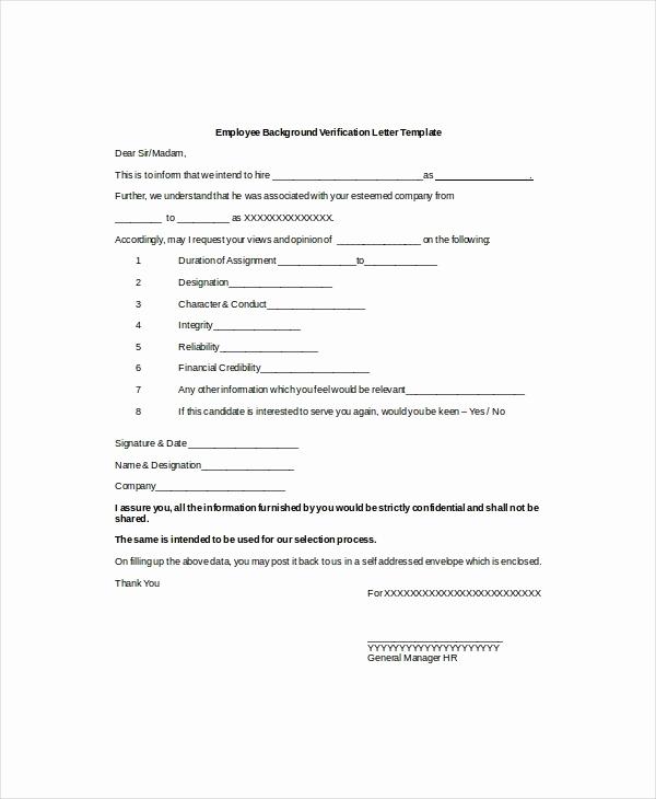 Standard Verification Of Employment form Elegant 9 Verification Of Employment Letter Examples Pdf