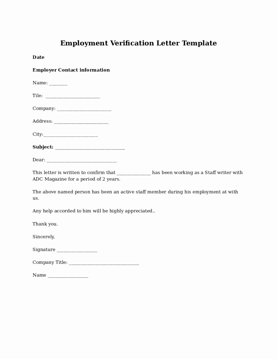 Standard Verification Of Employment form Inspirational 2019 Proof Of Employment Letter Fillable Printable Pdf