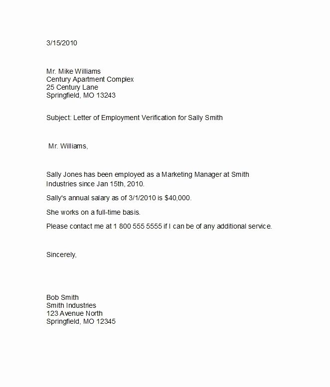 Standard Verification Of Employment form Lovely 10 Employee Verification Letter Examples Pdf Word
