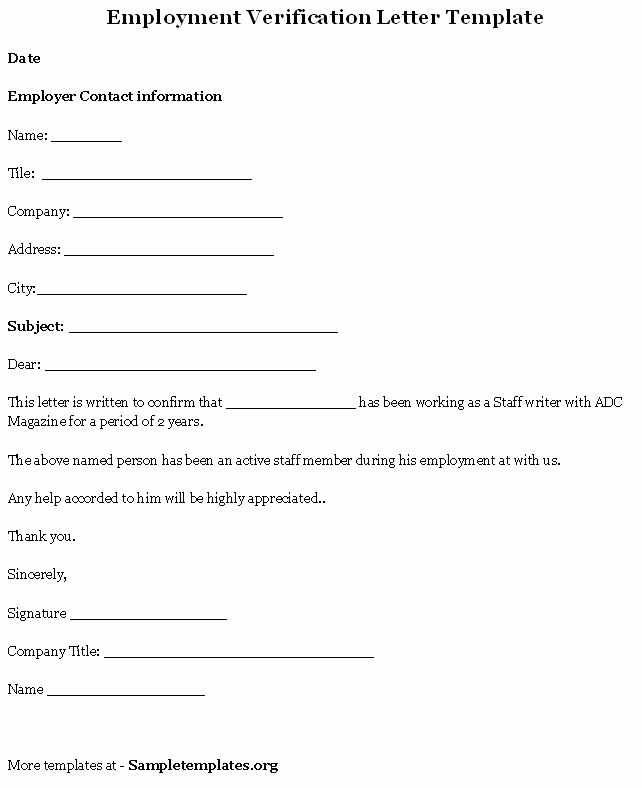 Standard Verification Of Employment form Lovely Printable Sample Letter Employment Verification form