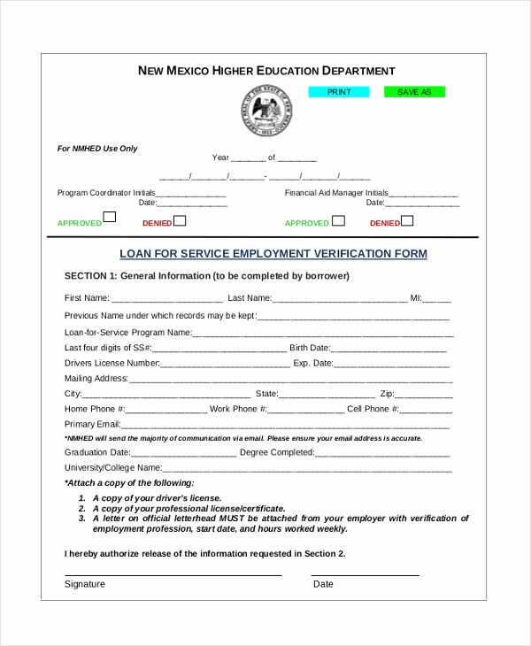 Standard Verification Of Employment form New Sample Job Verification form 8 Free Documents In Pdf