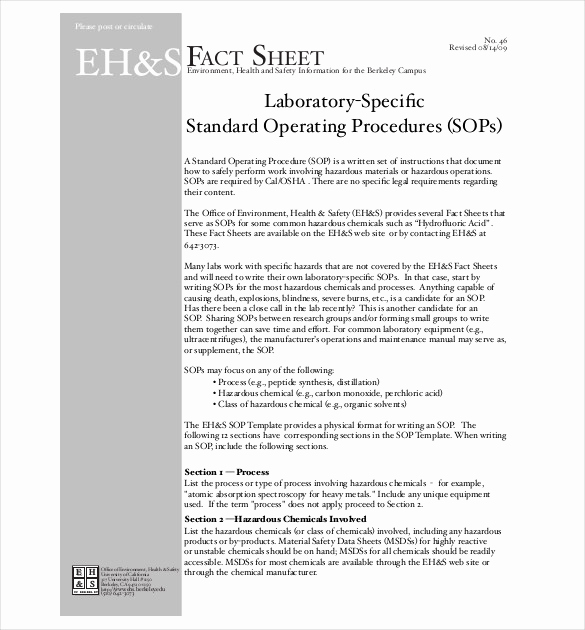 Standing Operating Procedures format Awesome 13 Standard Operating Procedure Templates Pdf Doc