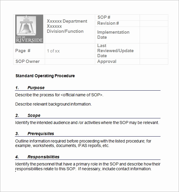 Standing Operating Procedures format Fresh 22 Sample sop Templates Pdf Doc