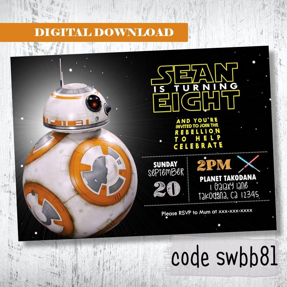 Star Wars Birthday Invitations Elegant Bb8 Star Wars Invitation Boys Birthday Invitation Darth