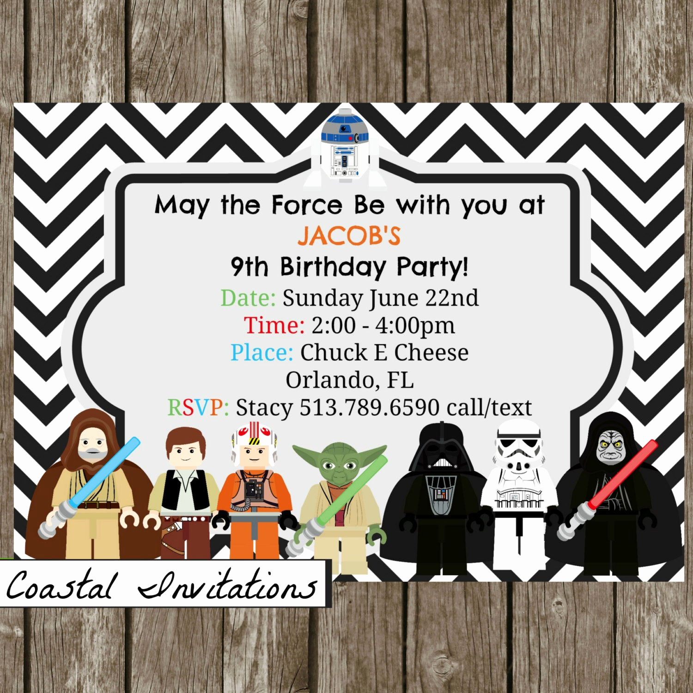 Star Wars Birthday Invitations Inspirational Lego Star Wars Birthday Party Invitation by Coastalinvitations