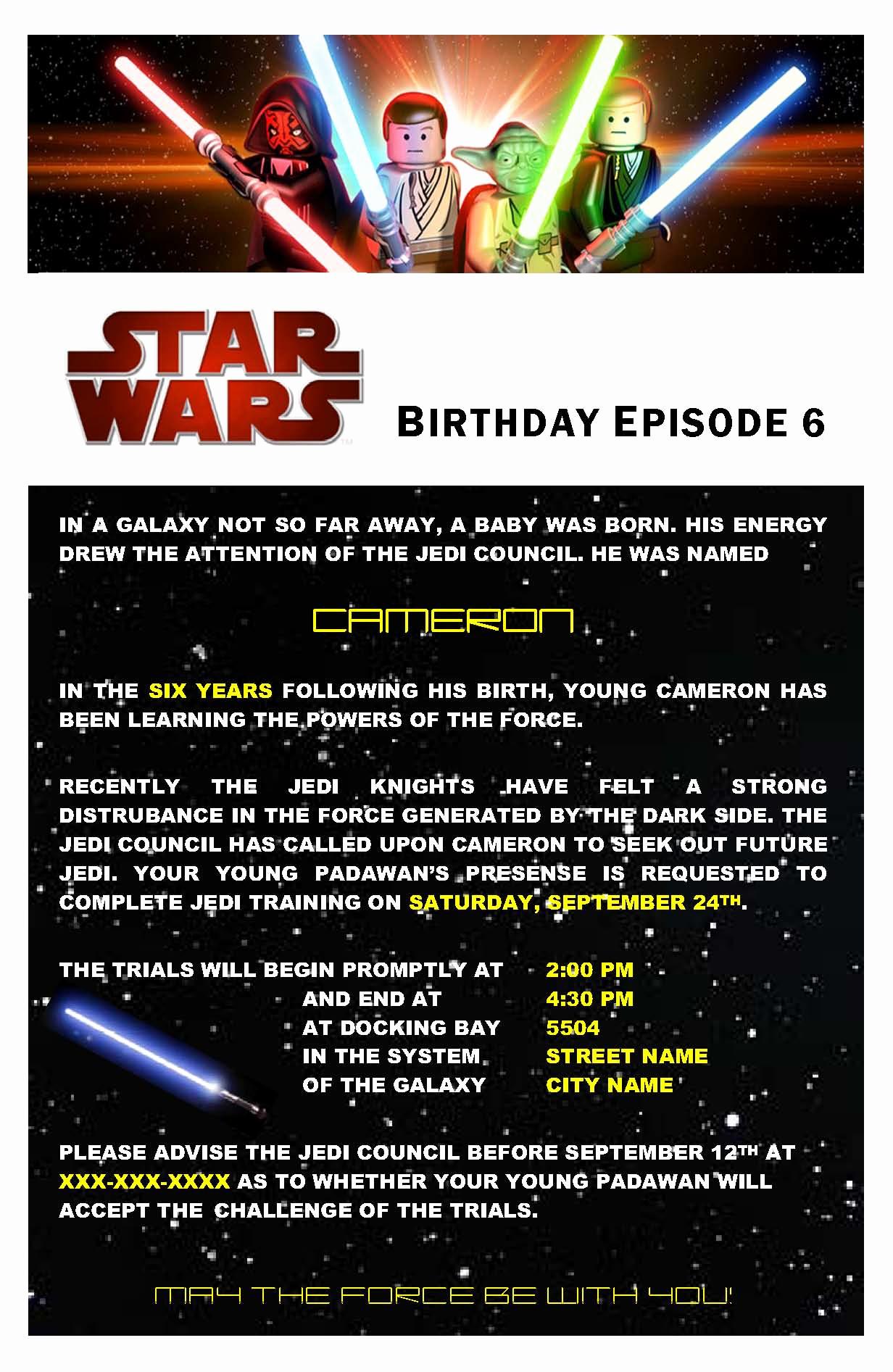 Star Wars Birthday Invitations Inspirational Star Wars Birthday Party