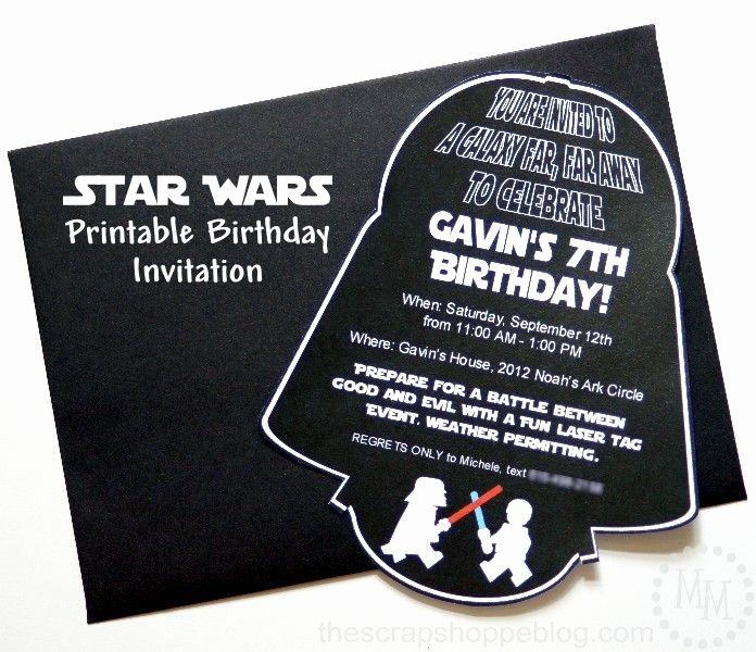 Star Wars Birthday Invitations Luxury Star Wars Darth Vader Printable Birthday Invitation