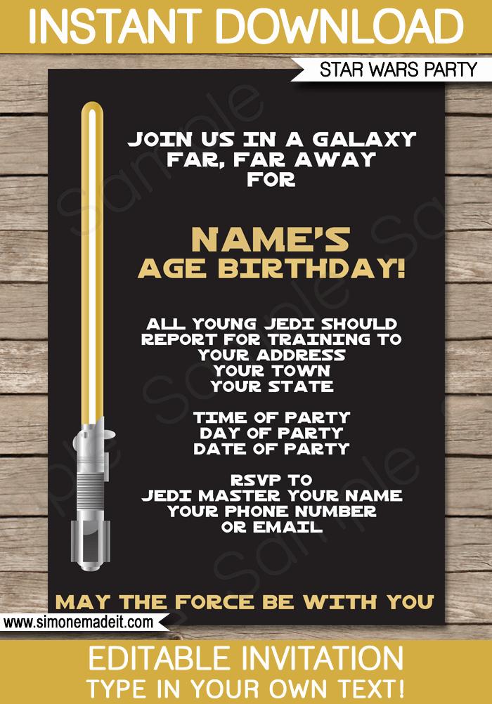 Star Wars Birthday Invitations Unique Gold Star Wars Invitations Editable Template