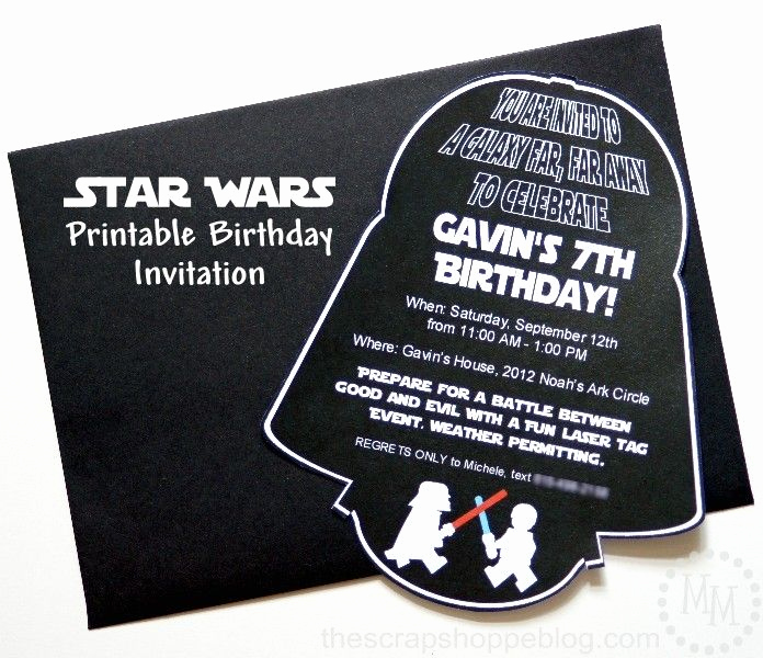 Star Wars Invitation Templates Awesome Star Wars Darth Vader Printable Birthday Invitation