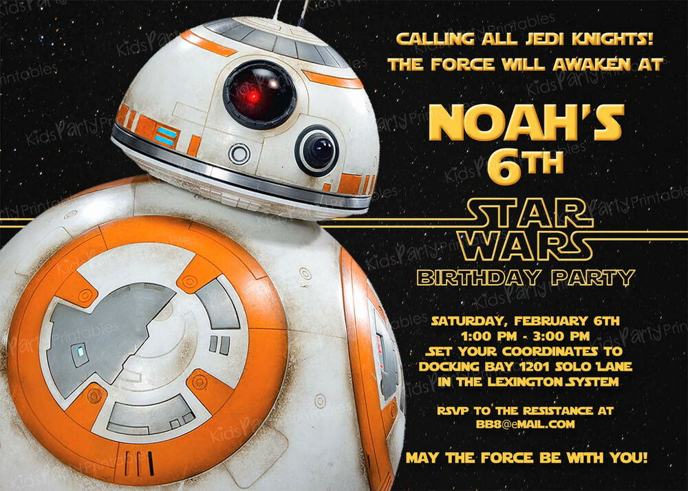Star Wars Invitation Templates Elegant 20 Bb8 Star Wars the force Awakens Birthday Party