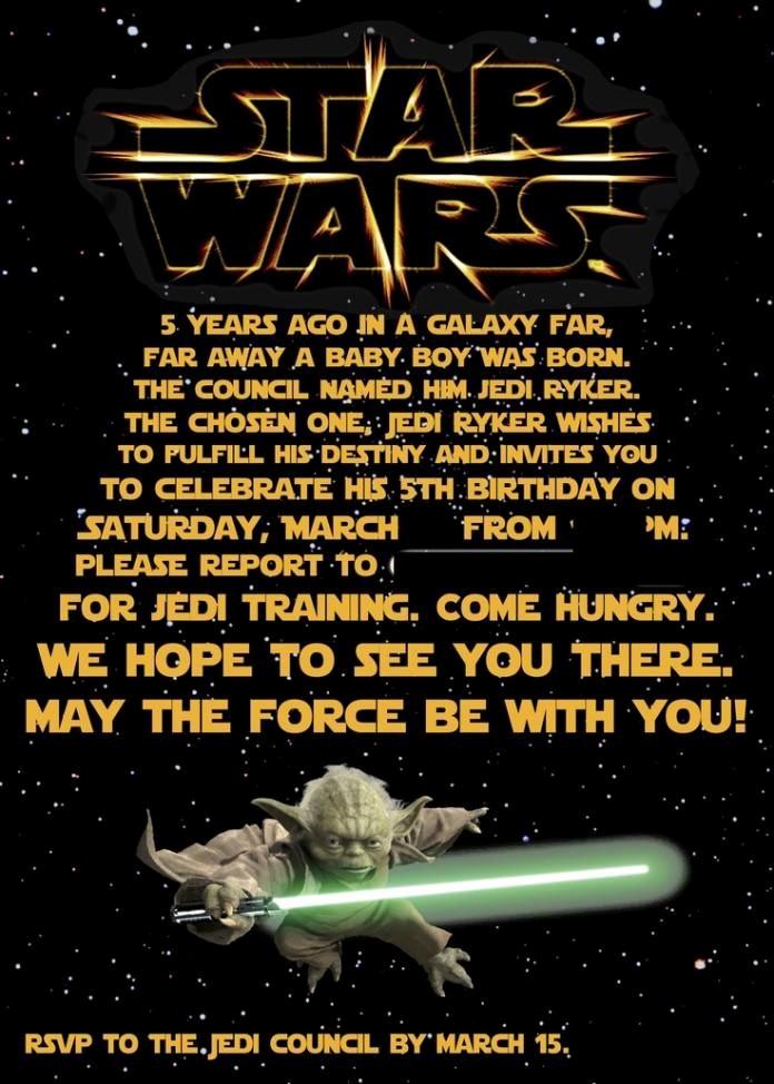 Star Wars Invitations Template Awesome Free Printable Star Wars Birthday Invitations