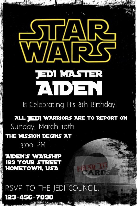 Star Wars Invitations Template New Star Wars Birthday Party Invitation Fully by Founditcards