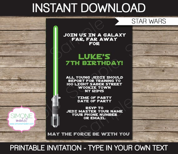 Star Wars Invitations Template New Star Wars Invitation Template Birthday Party Instant