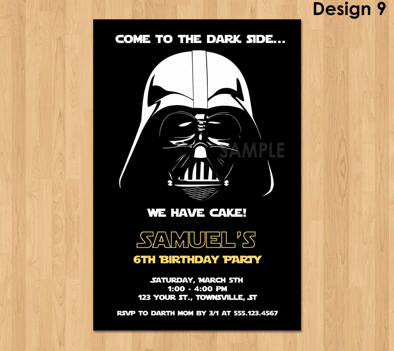 Star Wars Invitations Template Unique Darth Vader Invitation Star Wars Birthday Invitation Star
