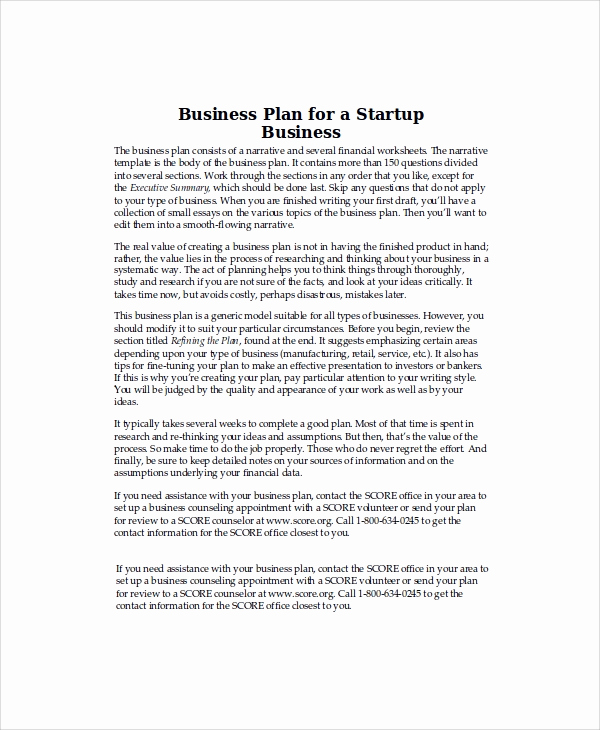 Startup Business Plan Template Pdf Luxury 8 Sample Business Plans
