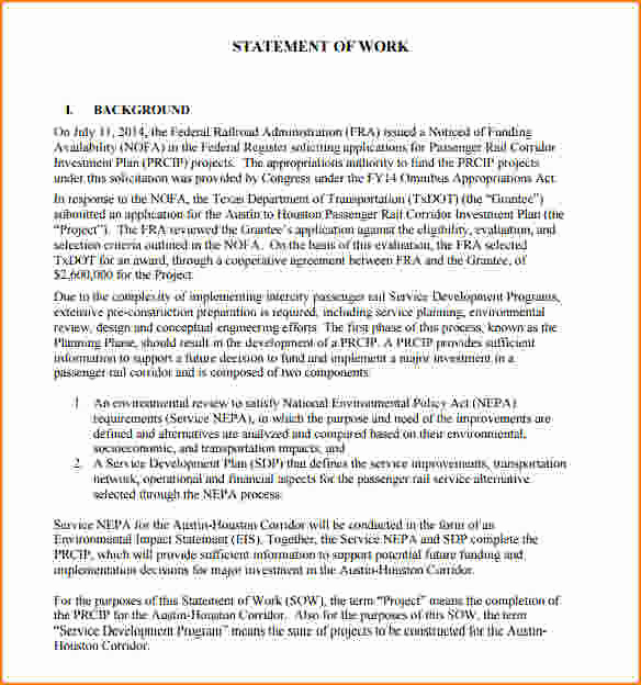 Statement Of Work Sample Beautiful 5 Statement Of Work format