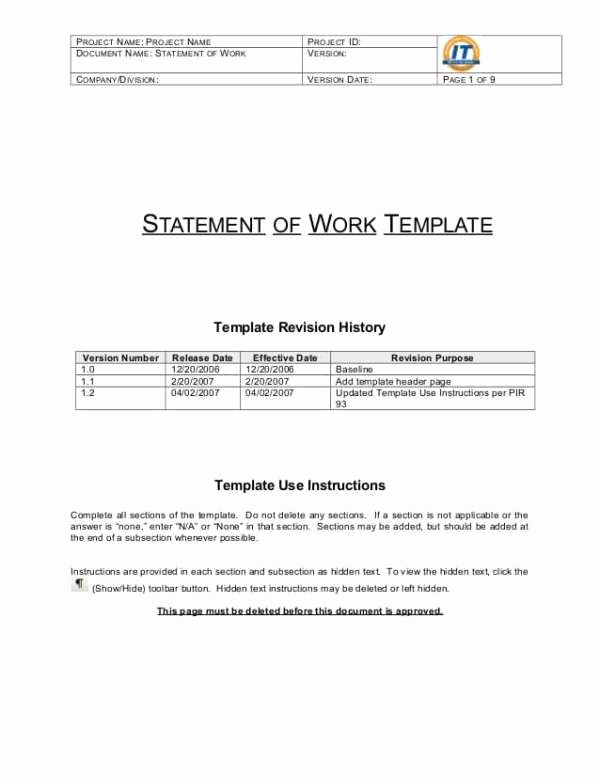 Statement Of Work Sample Beautiful 5 Statement Work Templates Word formats Examples In