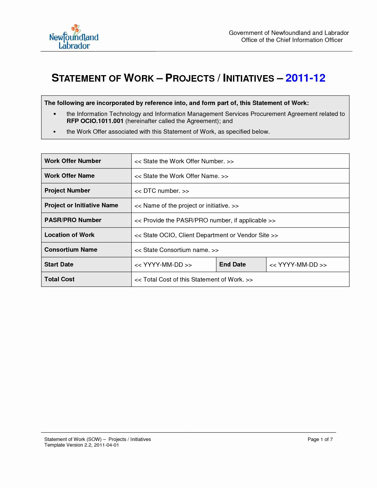 Statement Of Work Sample Elegant Statement Work Template