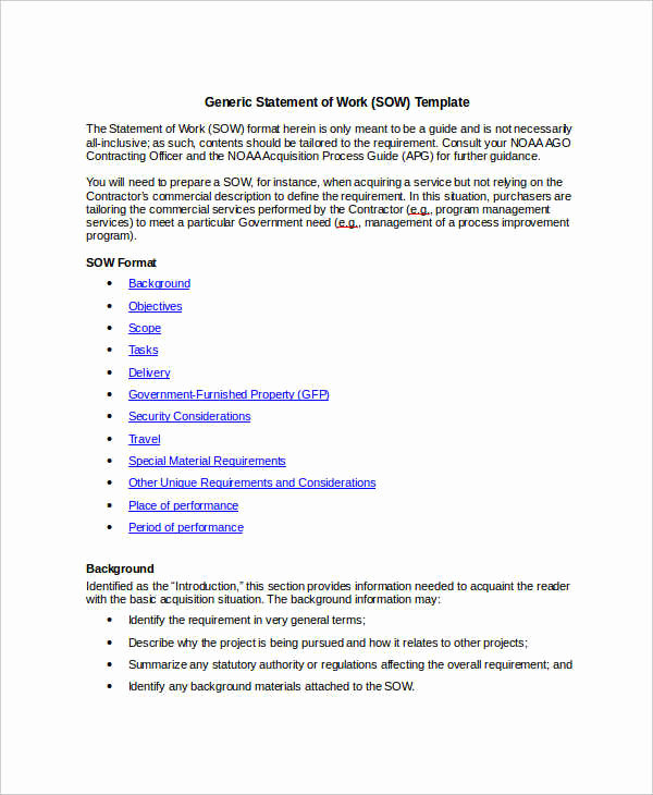 Statement Of Work Sample Fresh 10 Work Statement Examples Word Pdf