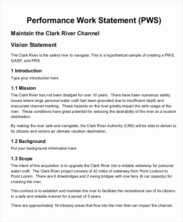 Statement Of Work Sample Luxury 10 Work Statement Examples Word Pdf