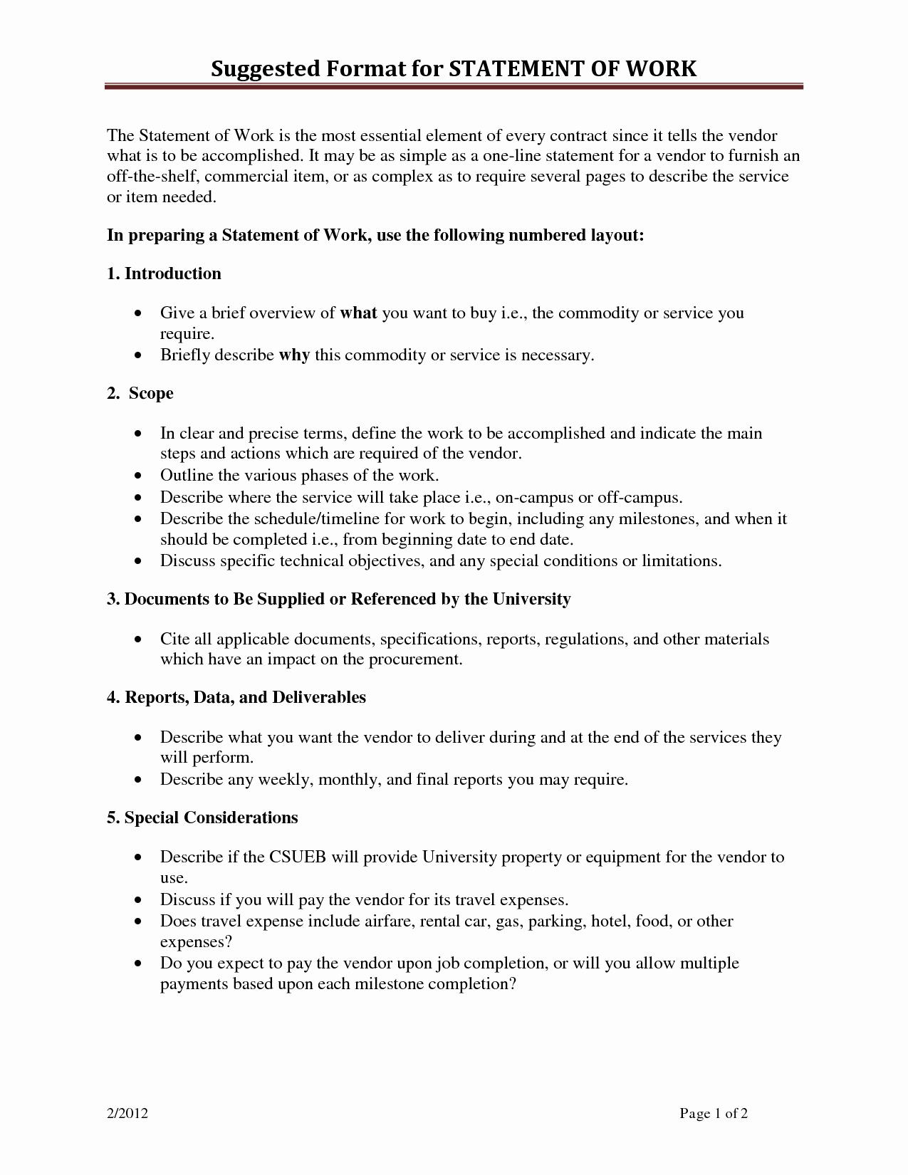 Statement Of Work Sample Unique Statement Work Template