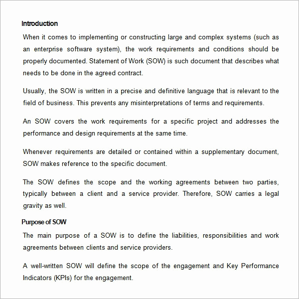 Statement Of Work Template Word Awesome Sample Statement Of Work Template 13 Free Documents