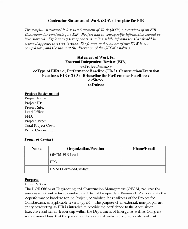 Statement Of Work Template Word Awesome Statement Work Template