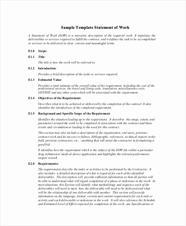 Statement Of Work Template Word Beautiful Templates and Samples