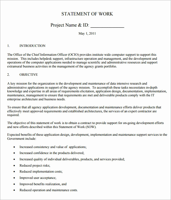 Statement Of Work Template Word Fresh Sample Statement Of Work Template 13 Free Documents