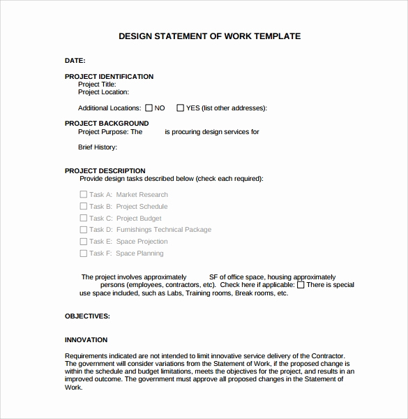 Statement Of Work Template Word Lovely Sample Statement Of Work Template 13 Free Documents