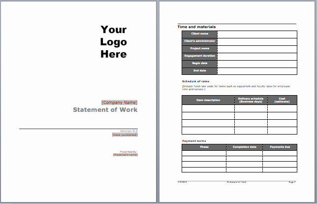 Statement Of Work Template Word Luxury Statement Of Work Template Microsoft Word Templates