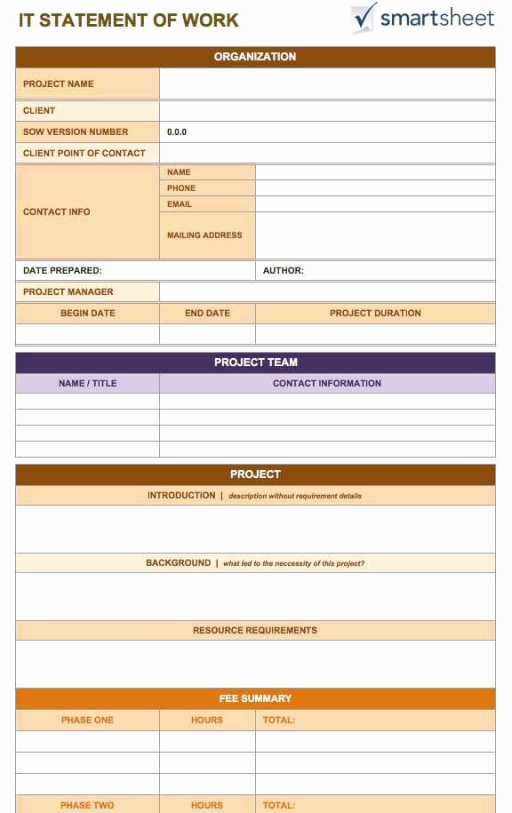 Statement Of Work Template Word Unique 5 Statement Work Templates Word Free Sample Templates