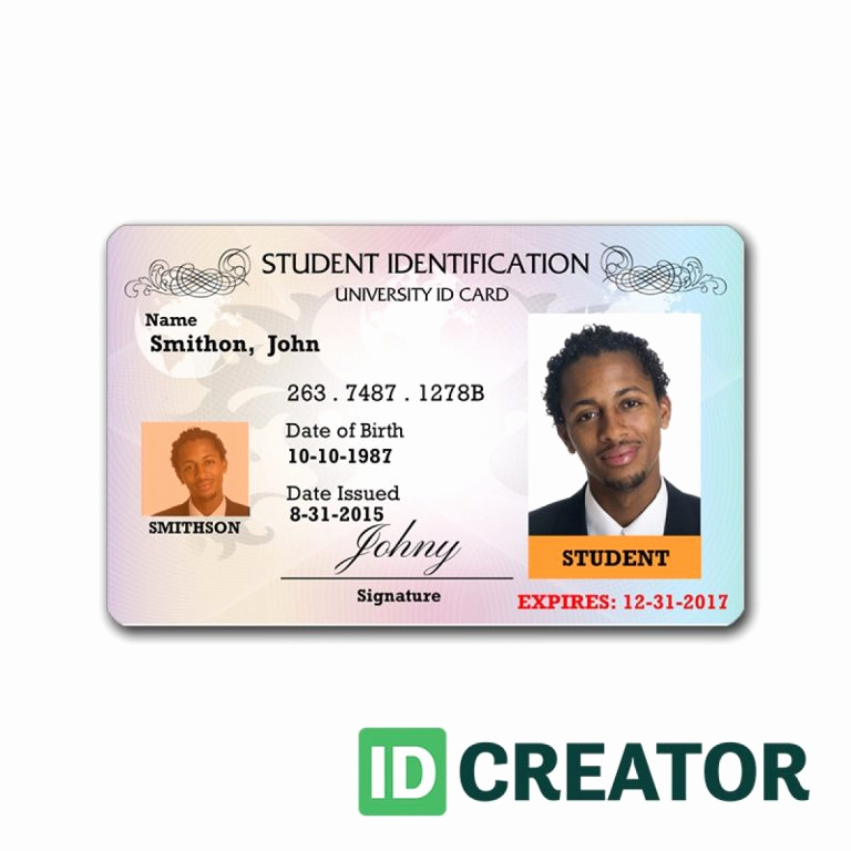 professional student id card order in bulk from idcreator with regard to id card template