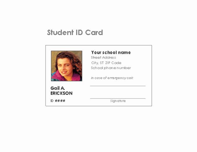 Student Id Card Template Elegant Student Identification Card