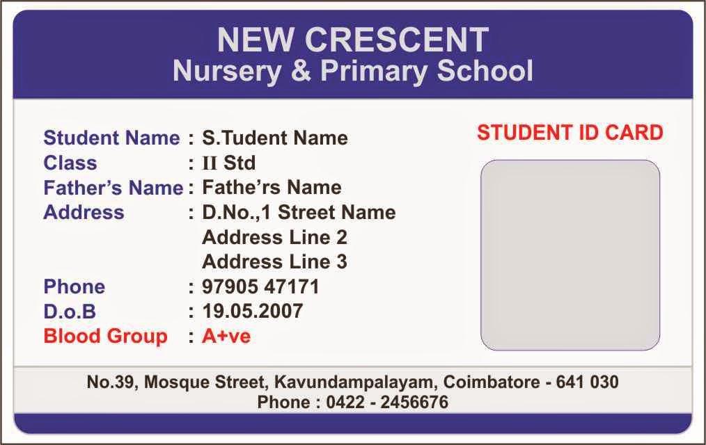 Student Id Card Template Fresh Id Card Coimbatore Ph Elementary School