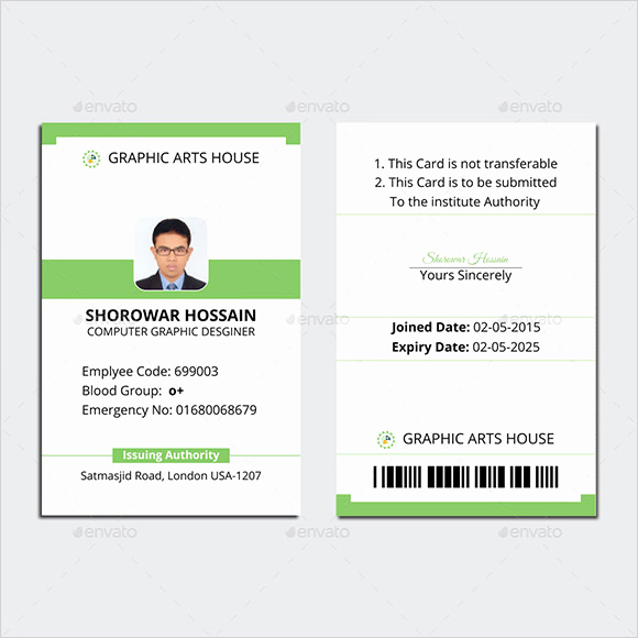 Student Id Card Template New Employee Id Card Template
