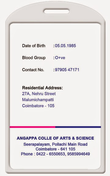 Student Id Card Template Unique Id Card Coimbatore Ph College Id Card
