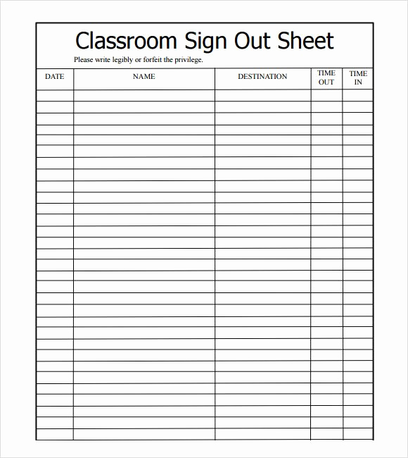 Student Sign In Sheet Beautiful Sample Sign Out Sheet Template 8 Free Documents
