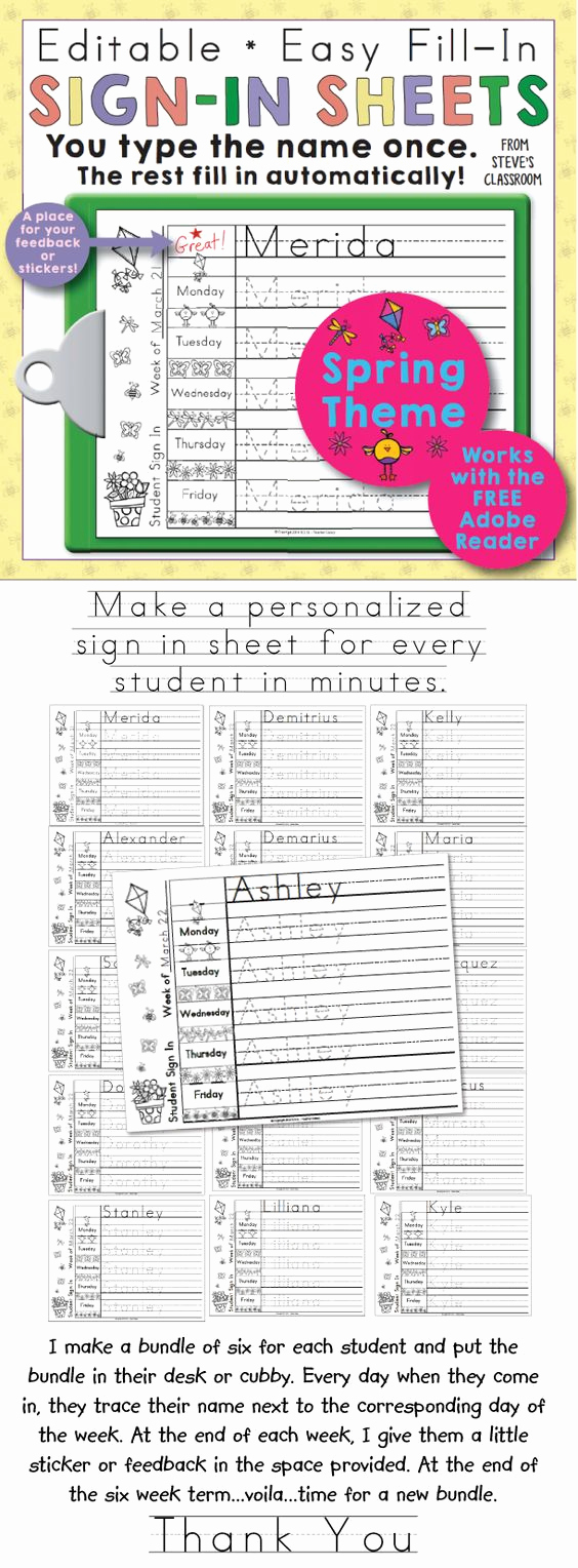 Student Sign In Sheet Fresh Morning Work Name Writing Practice Sign In Sheets Spring