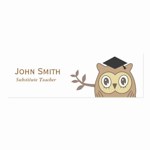 Substitute Teacher Business Cards Beautiful Dr Owl Substitute Teacher Mini Business Card