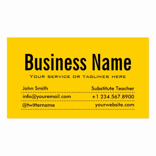 Substitute Teacher Business Cards Beautiful Modern Yellow Substitute Teacher Business Card
