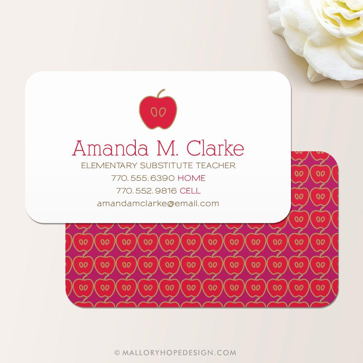 Substitute Teacher Business Cards Beautiful Teacher Business Card Calling Card Mommy Card Contact