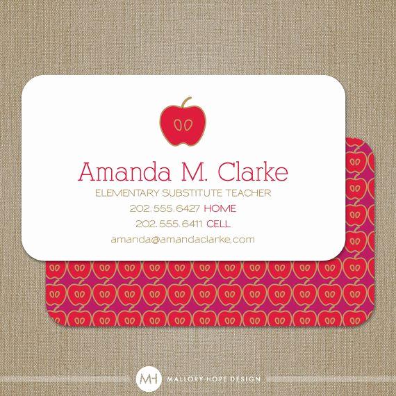 Substitute Teacher Business Cards Beautiful Teacher Business Card Calling Card Mommy Card