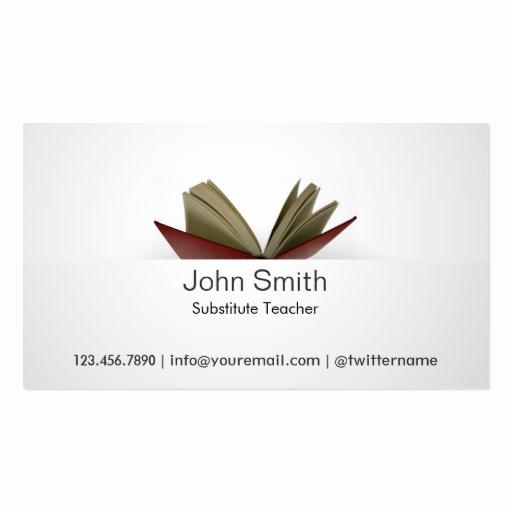 Substitute Teacher Business Cards Best Of Subtle Open Book Substitute Teacher Business Card