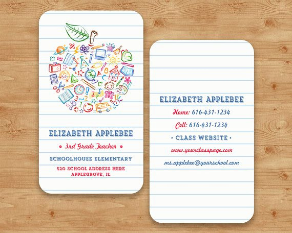 Substitute Teacher Business Cards Elegant Colorful Teachers Apple Business Card Apple by
