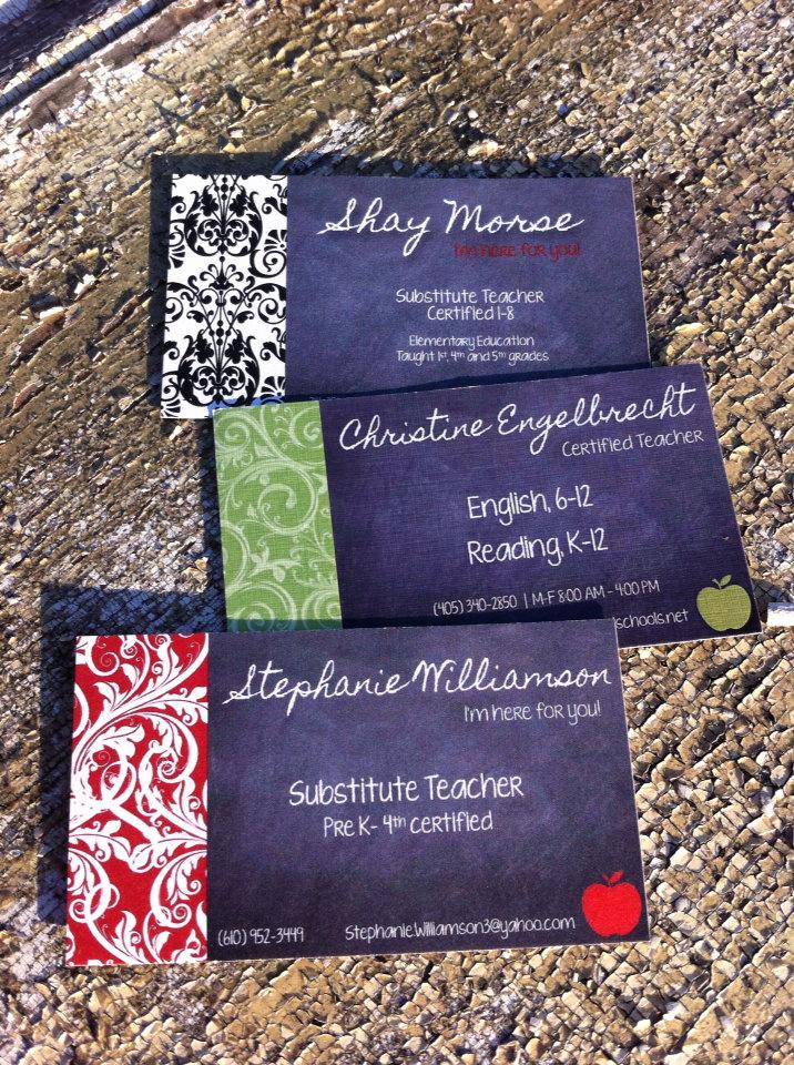 Substitute Teacher Business Cards Elegant Substitute Teacher Business Cards Printable