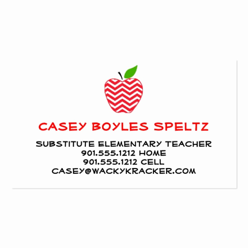 Substitute Teacher Business Cards Inspirational Substitute Teacher Business Cards