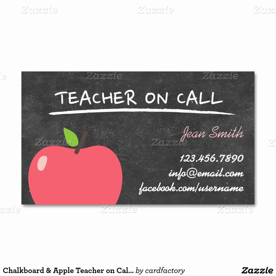 Substitute Teacher Business Cards Luxury Teacher On Call Cute Apple Chalkboard Business Card
